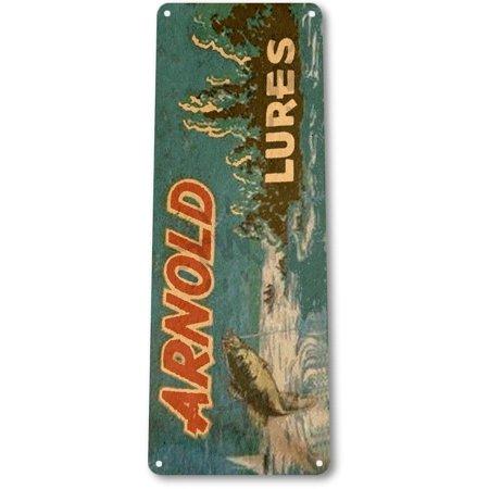 TIN SIGN B652 Arnold Lures Fishing Boat Bait Retro Box Rustic Fish Decor, By Tinworld (Fishing Decor)