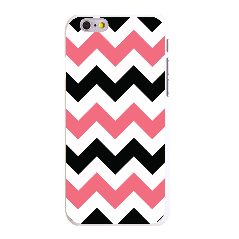 "CUSTOM White Hard Plastic Snap-On Case for Apple iPhone 6 / 6S (4.7"" Screen) - Black Pink Chevron Stripes"