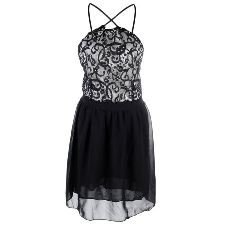 S/M Fit Black Printed Grey Top Cris Cros Halter Strap Backless Dress