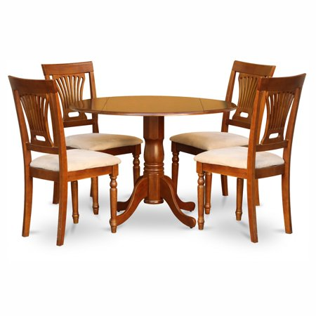 East West Furniture Dublin 5 Piece Drop Leaf Dining Table Set with Plainview Microfiber Seat Chairs ()