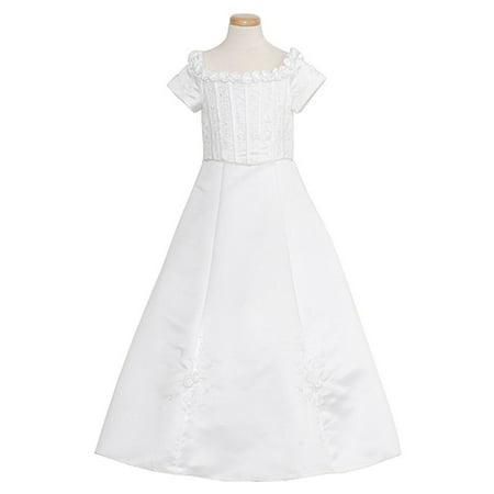 0345f1c52b5 The Rain Kids - Rain Kids Toddler Girls 2T White Floral Off Shoulder Flower  Girl Dress - Walmart.com