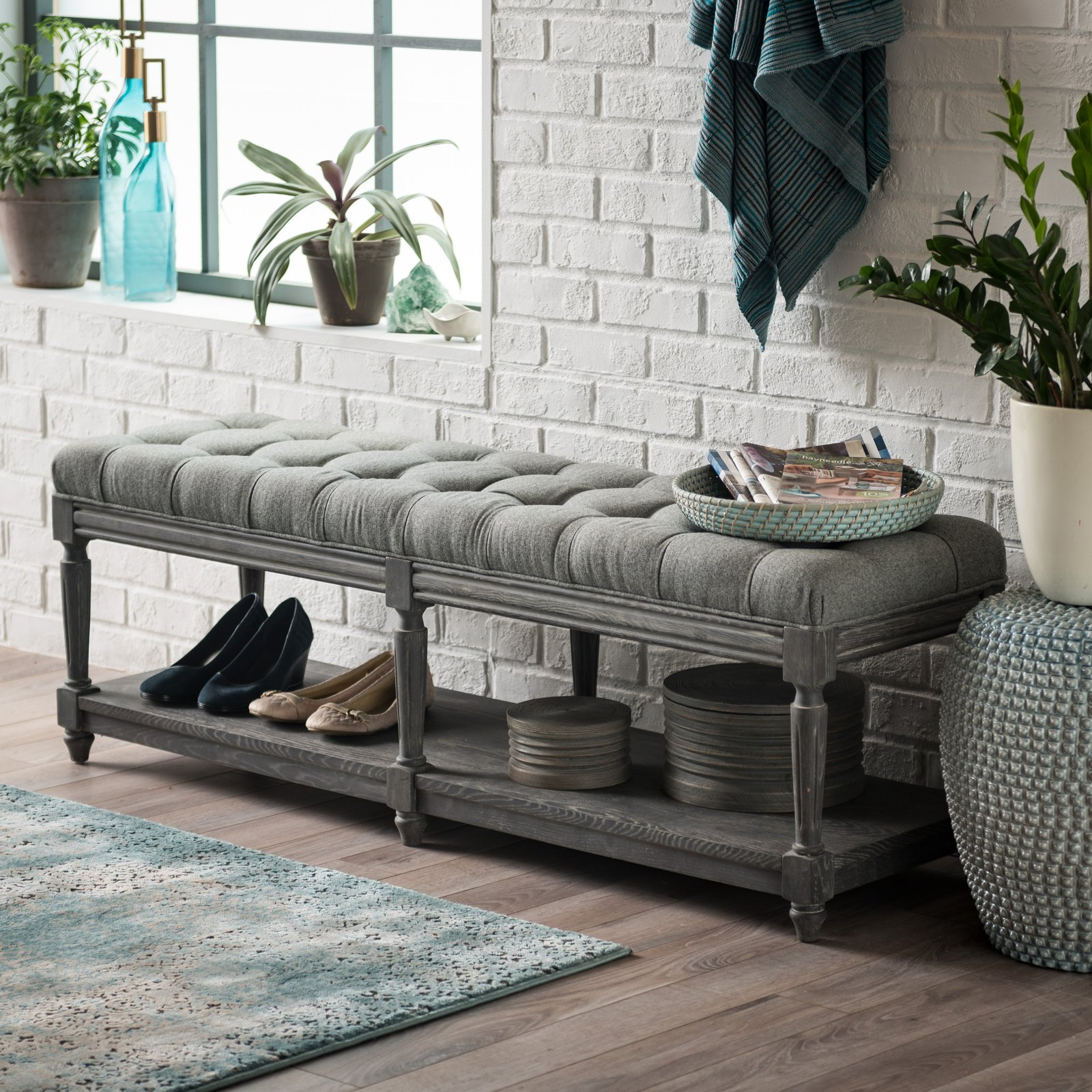 Belham Living Reagan Tufted Bench with Shelf