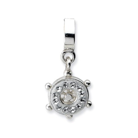 Sterling Silver Ships Wheel Bead Charm With Clear Swarovski Crystals