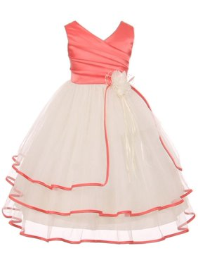 d1a5af60514c Product Image Chic Baby Little Girls Coral Taffeta Layered Flower Girl Dress  6