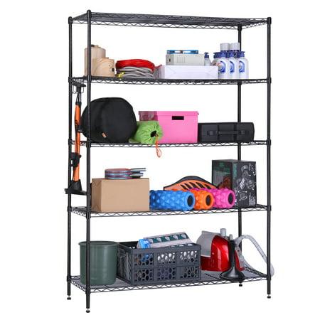 Extra Large Wood Rack - LANGRIA 5 Tier Heavy Duty Extra Large Garage Kitchen Wire Shelving Unit Storage Organization Rack
