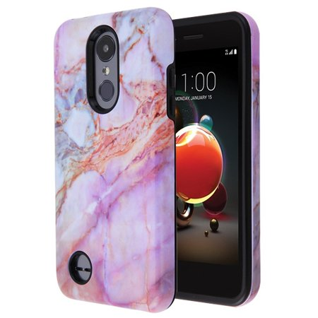LG Phone Case Slim Hybrid Shockproof Impact Rubber Dual Layer Rugged Protective Hard PC Bumper & Soft TPU Back Cover Purple Marble Case for LG Aristo 2 /Zone 4 /Fortune 2 /Risio 3 /K8 /K8 Plus (2018)