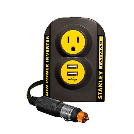 Portable 140W Power Inverter w/ 2 Amp USB Outlets & DC Plug for Cars by Stanley