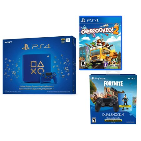 Bonus Bundle - PlayStation 4 Overcooked! 2 Fortnite Bonus Limited Bundle: Overcooked! 2, Fortnite Royale Bomber Outfit (500 V-Bucks), Limited Edition PlayStation 4 Slim Days of Play 1TB Console with Extra Controller