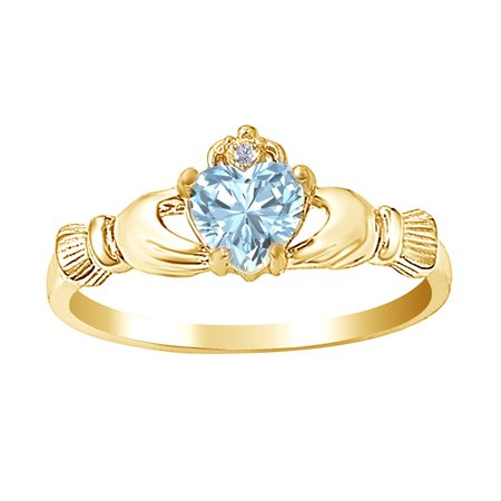 Simulated Aquamarine CZ & White Cubic Zirconia Heart Claddagh Ring In 14k Yellow Gold Over Sterling Silver ()