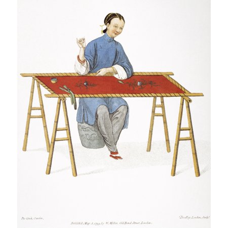 Woman Lithograph - China Embroidering Na Chinese Woman Embroidering English Lithograph 1799 After A Contemporary Pen-And-Wash By Pu-Qua Can