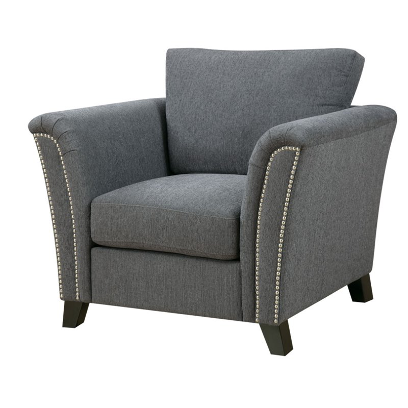 Furniture of America Shirley Fabric Accent Chair in Gray