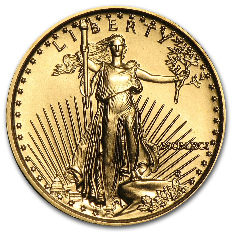 Mint Gift Box BU coin in U.S 1991 American Gold Eagle 1//10 oz $5