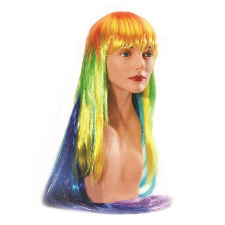 Loftus Women Long Straight Vibrant Neon Rainbow Wig, Rainbow, One Size (Rainbow Wig Party City)