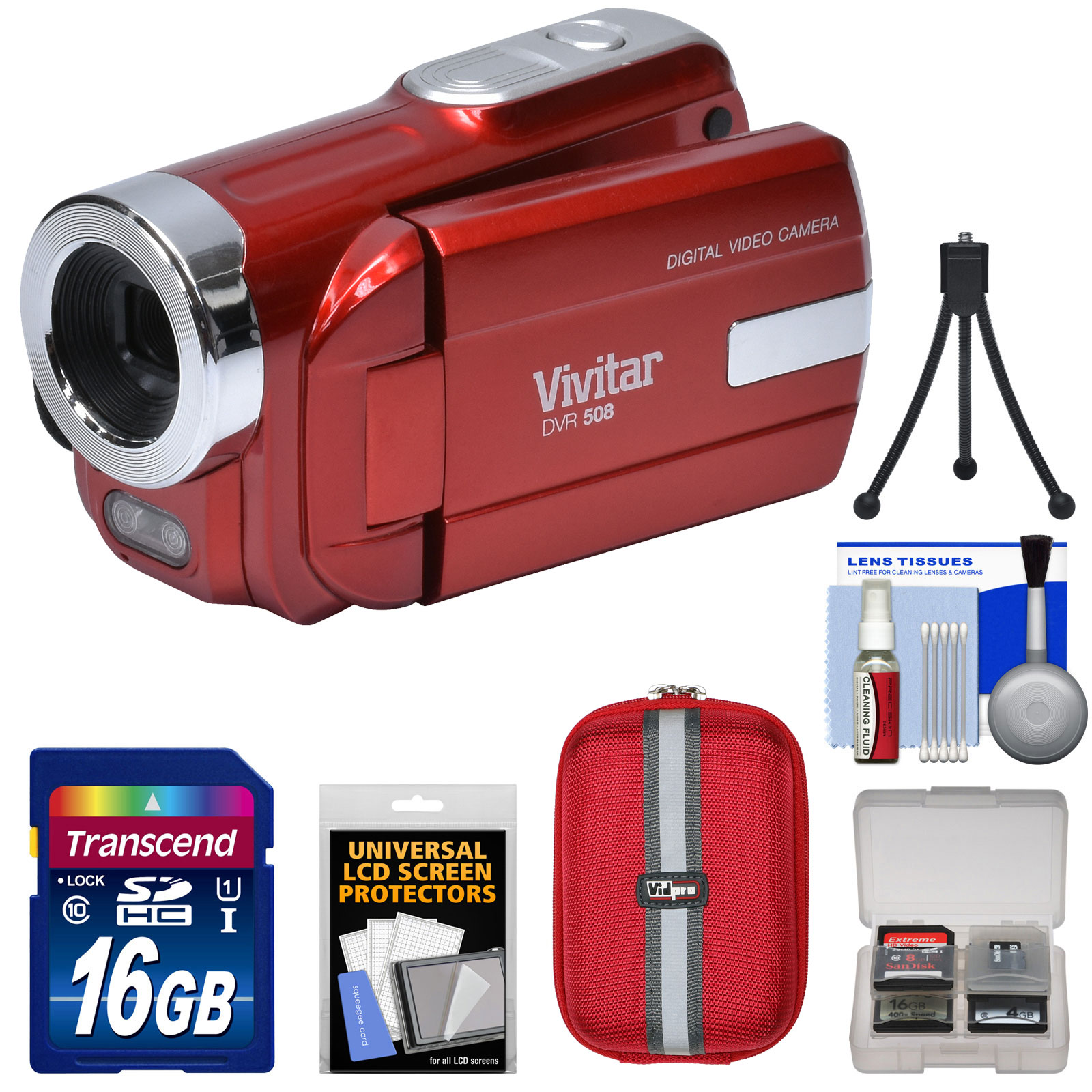 Vivitar DVR-508 HD Digital Video Camera Camcorder (Red) with 16GB Card + Case + Tripod + Kit