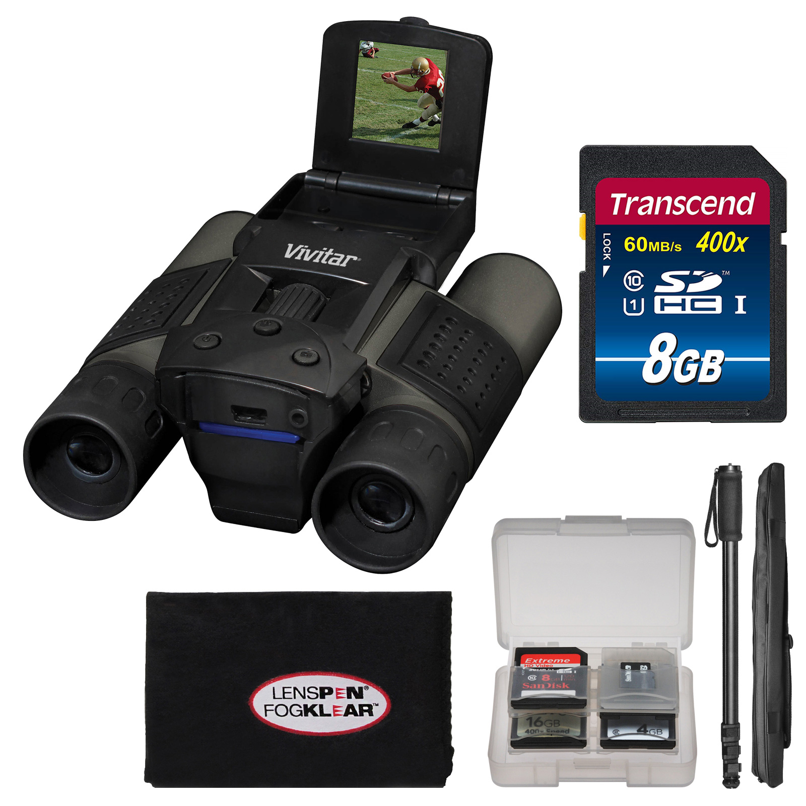 Vivitar 10x25 Binoculars with Built-in Digital Camera with 8GB Card + Monopod + FogKlear Cleaning Cloth + Kit by Vivitar