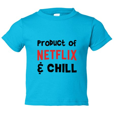 "Kids Funny ""Product Of Netflix & Chill"" Toddler Shirt - Funny Threadz Kids, Dark Blue, 2T (The Real Meaning Of Netflix And Chill)"