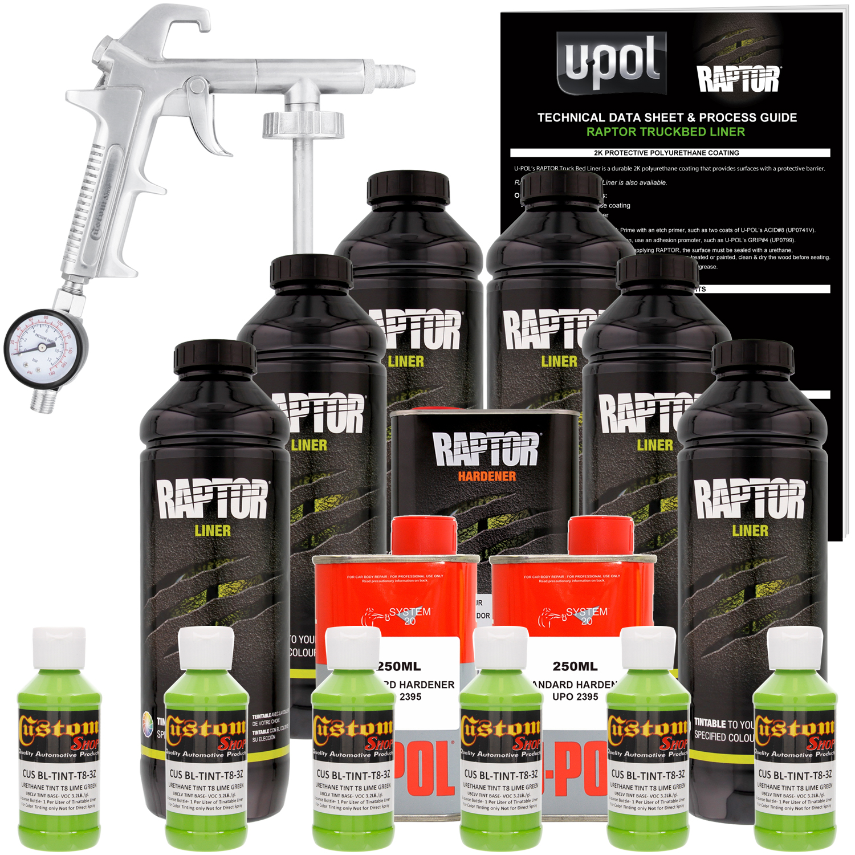 U-POL Raptor Lime Green Urethane Spray-On Truck Bed Liner Kit w/ FREE Custom Coat Spray Gun with Regulator, 6 Liters