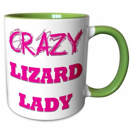 3dRose Crazy Lizard Lady - Two Tone Green Mug, -