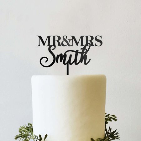 Custom Personalized Name Mr and Mrs Bride and Groom Wedding Cake Topper Traditional Block Font and Script - Mrs Cake