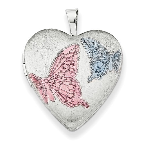 Sterling Silver 20mm Enameled Butterflies Heart Locket w  18in Chain by Jewelrypot