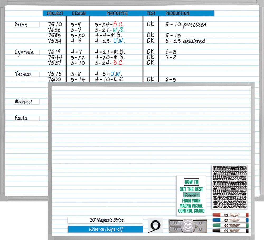 "Magna Visual 3 Character Set Magnetic Planner Kit - 48"" x 36"" - Porcelain"