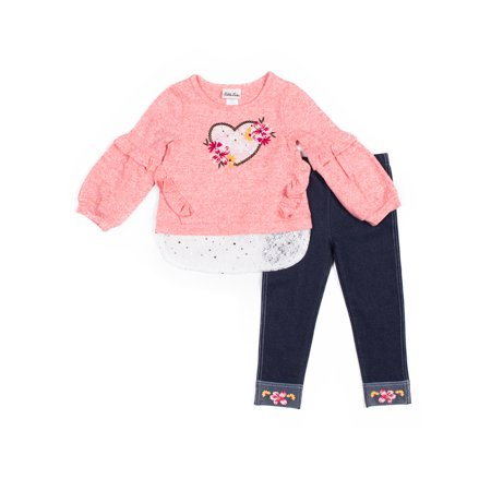 Kingdom Hearts Outfits (Little Lass Pink Heart Hachi Ruffle Crewneck And Side Stripe Legging, 2-Piece Outfit Set (Little)