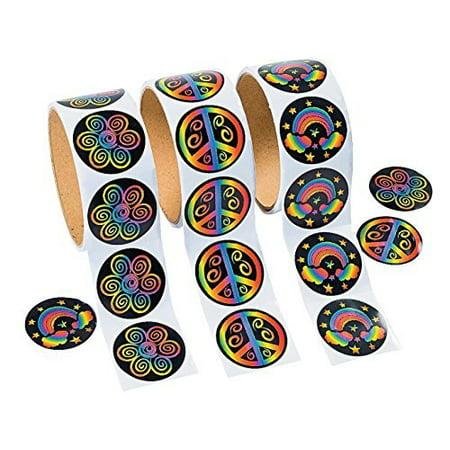 3 Rolls of Rainbow Stickers (300 Stickers) - image 1 de 1
