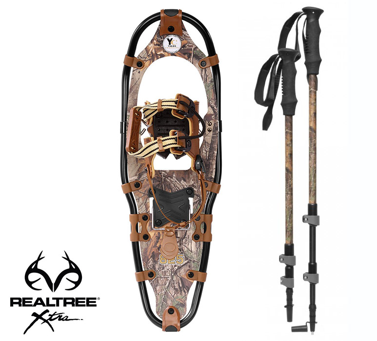 Yukon Charlie's REALTREE Xtra Aluminum Snowshoes(up to 200lbs) Wood Camo w poles by Yukon Charlie's