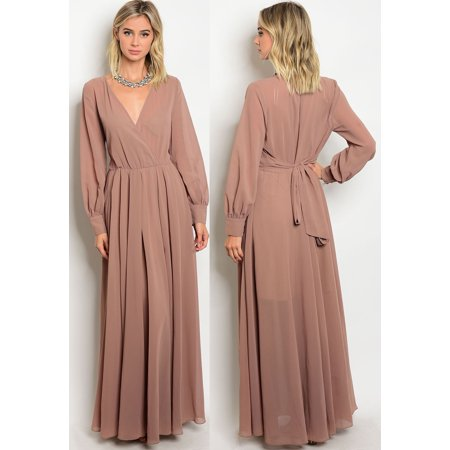 0009a39b18b1 JED FASHION - JED FASHION Women's Long Sleeve V-neck Chiffon Maxi Dress -  Walmart.com