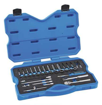 ARMSTRONG 15-205 Socket Set, 1/4 In Dr, Chrome, 37 pc