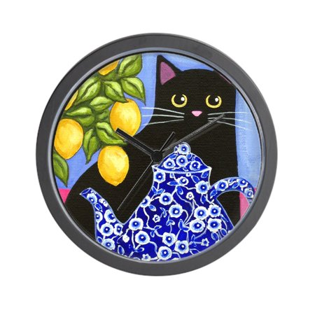 CafePress - Black CAT Blue Calico Teapot & Lemons - Unique Decorative 10
