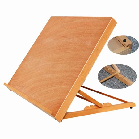 Akoyovwerve Portable Folding Wooden Drawing Board A2 Desk Adjustable Wood Table Easel for Painting & Sketching](Table Top Easels)