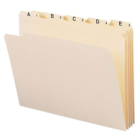 11777 Indexed File Folders, 1/5 Cut, Indexed A-Z, Top Tab, Letter, Manila (Set of 25) Smead