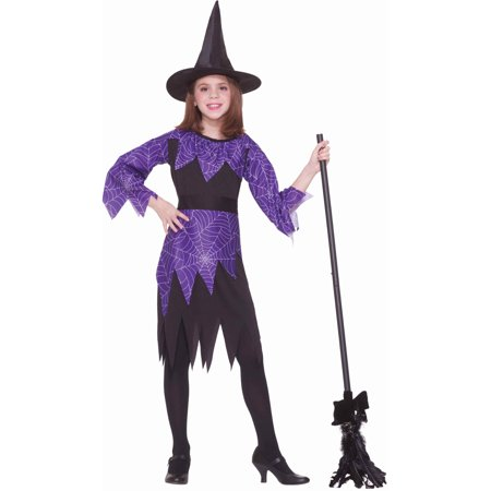 Child Girls Halloween Evil Spider Web Witch Costume Medium 8-10