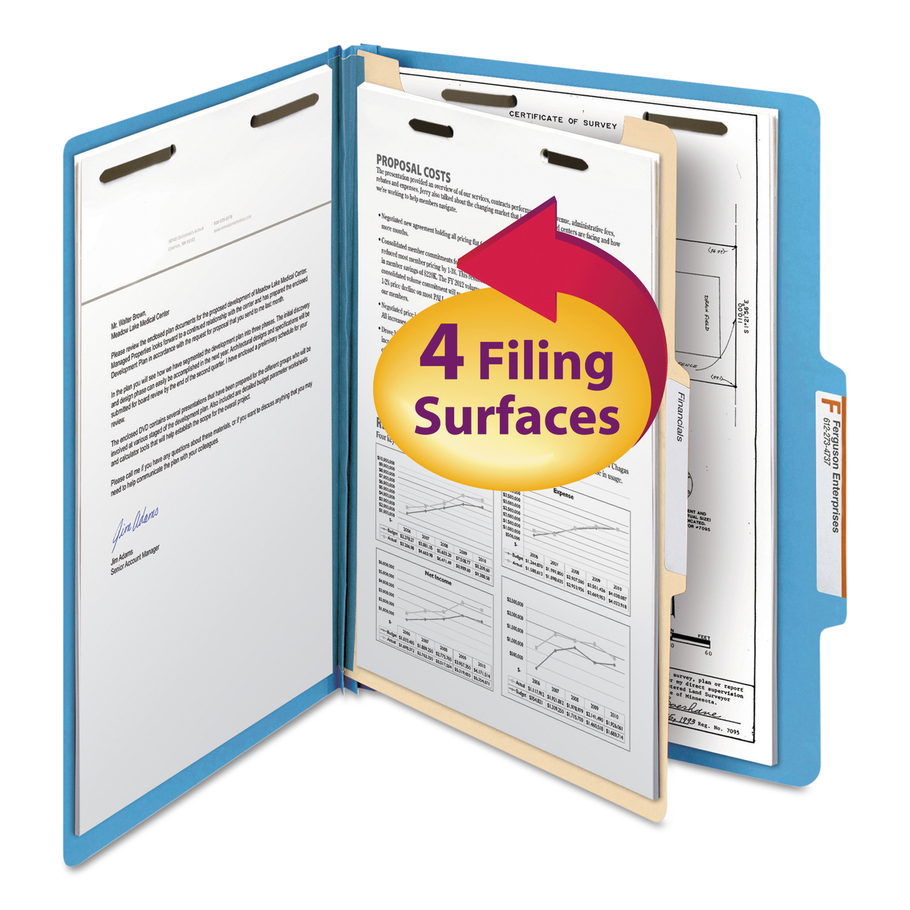 Smead Top Tab Classification Folder, One Divider, Four-Section, Letter, Blue, 10/Box -SMD13701