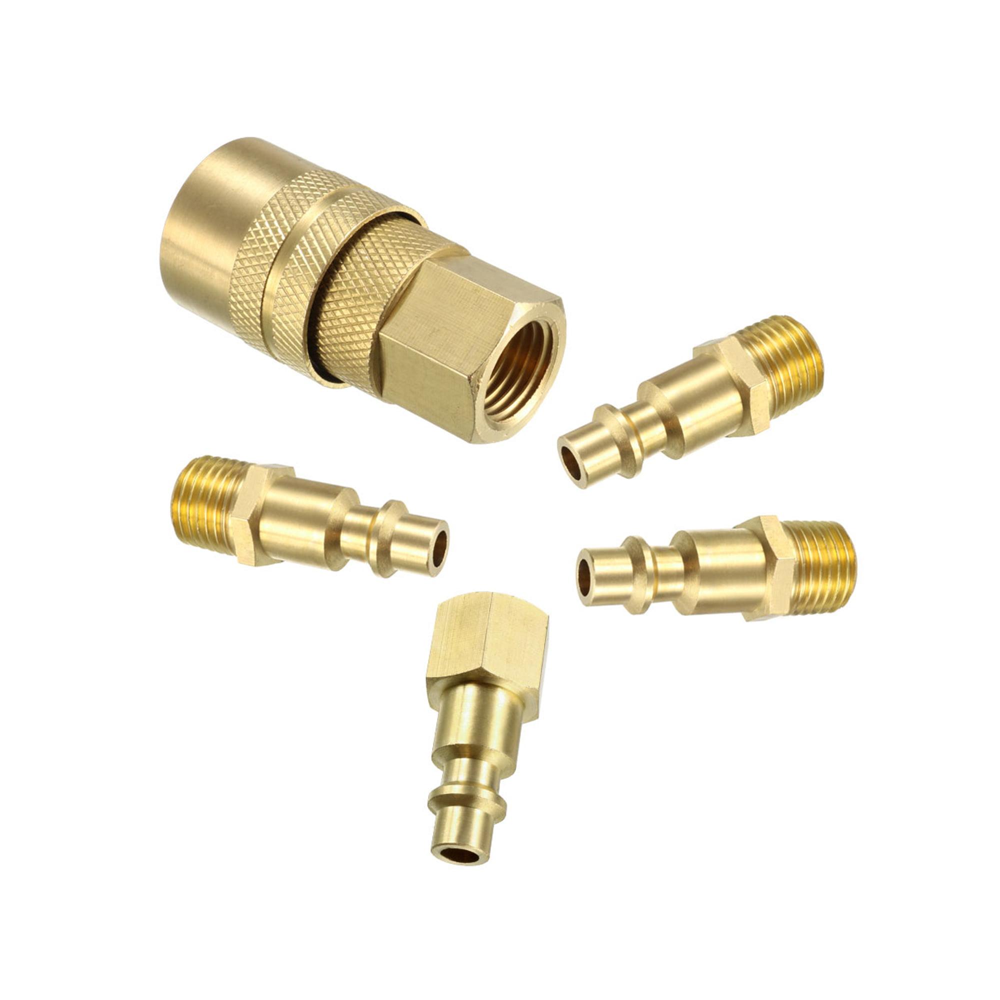 """Coupler & Plug Kit (5 Piece) , 1/4"""" NPT Male/Female Brass Industrial Quick-Connect Fitting Quick Coupler Set - image 4 de 4"""