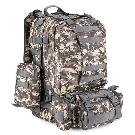 Rucksack System (3-in-1 Tactical Backpack (Arctic Camo) 55L Large Army Assault Pack w/ Detachable Shoulder Messenger Bag 2 Side Packs, MOLLE Gear Attachment System, Bug-out Bag Daypack Rucksack for Outdoor Hiking)