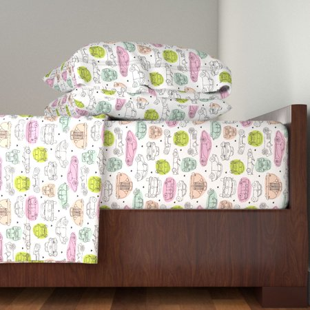 Doodle Illustration Geek Car Retro 100% Cotton Sateen Sheet Set by (Retro Sheet Set)