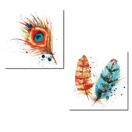 Gorgeous Teal and Orange Watercolor Style Peacock Feather Set; Two 12x12in Poster Prints - Teal Feathers