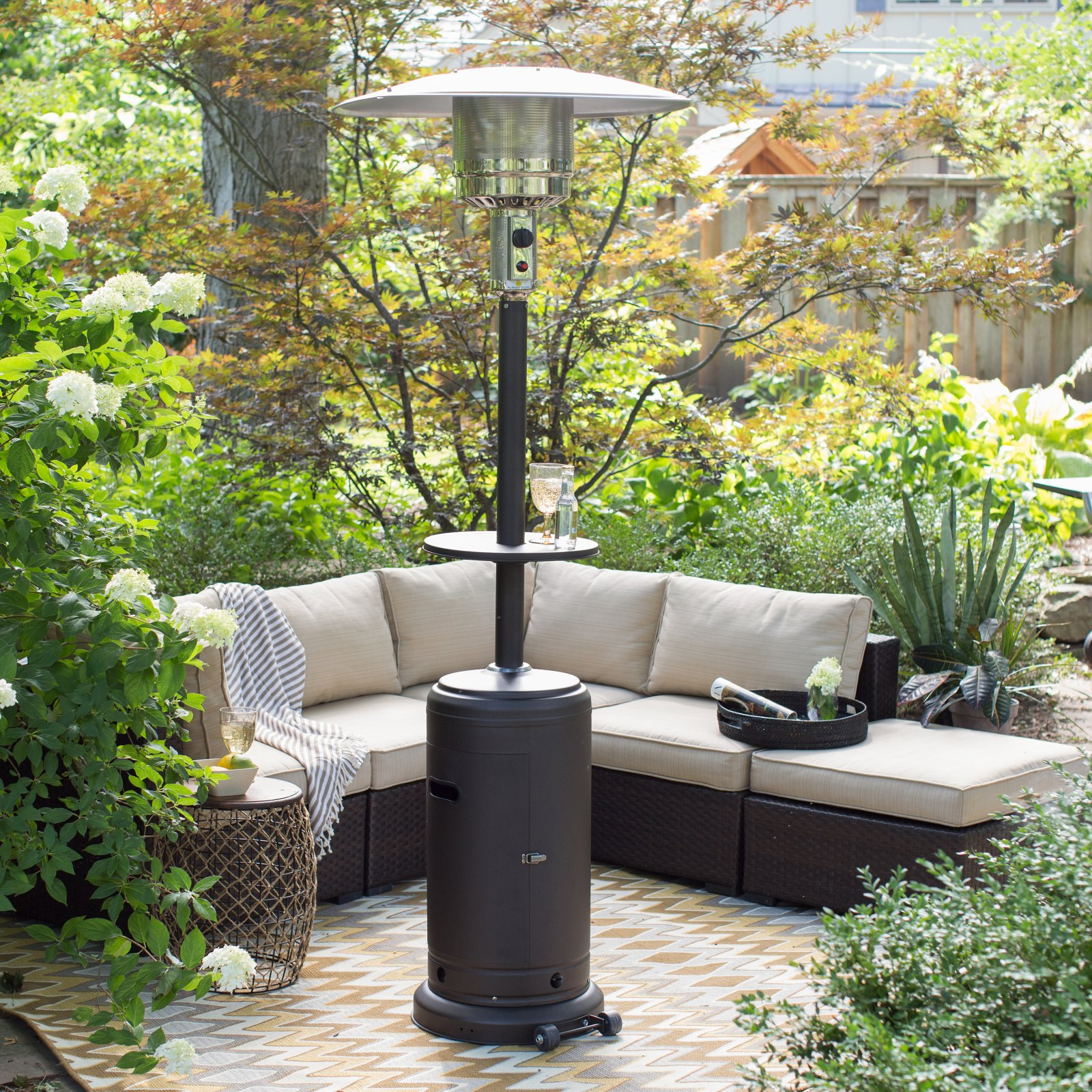 AZ Patio Heaters Mocha Tall Patio Heater with Table