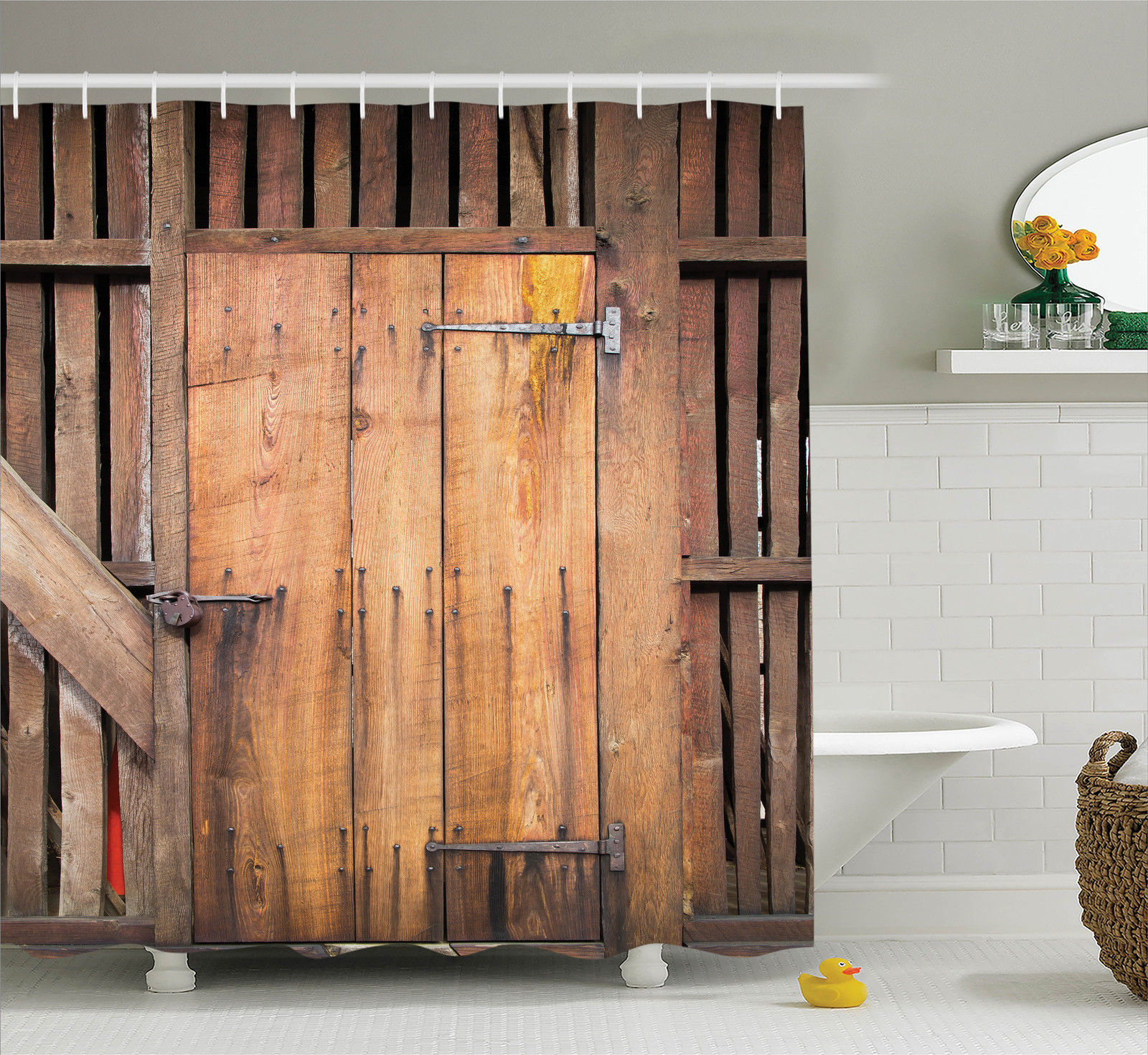 Rustic Decor Shower Curtain Set, Dated Simple Door Like In Construction  Vertical Barns House Nobody