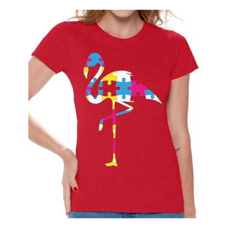 6773e05e483 Awkward Styles Flamingo Puzzle Piece for Autism Awareness Women's Autism T Shirt  Autism Awareness Shirts Autistic