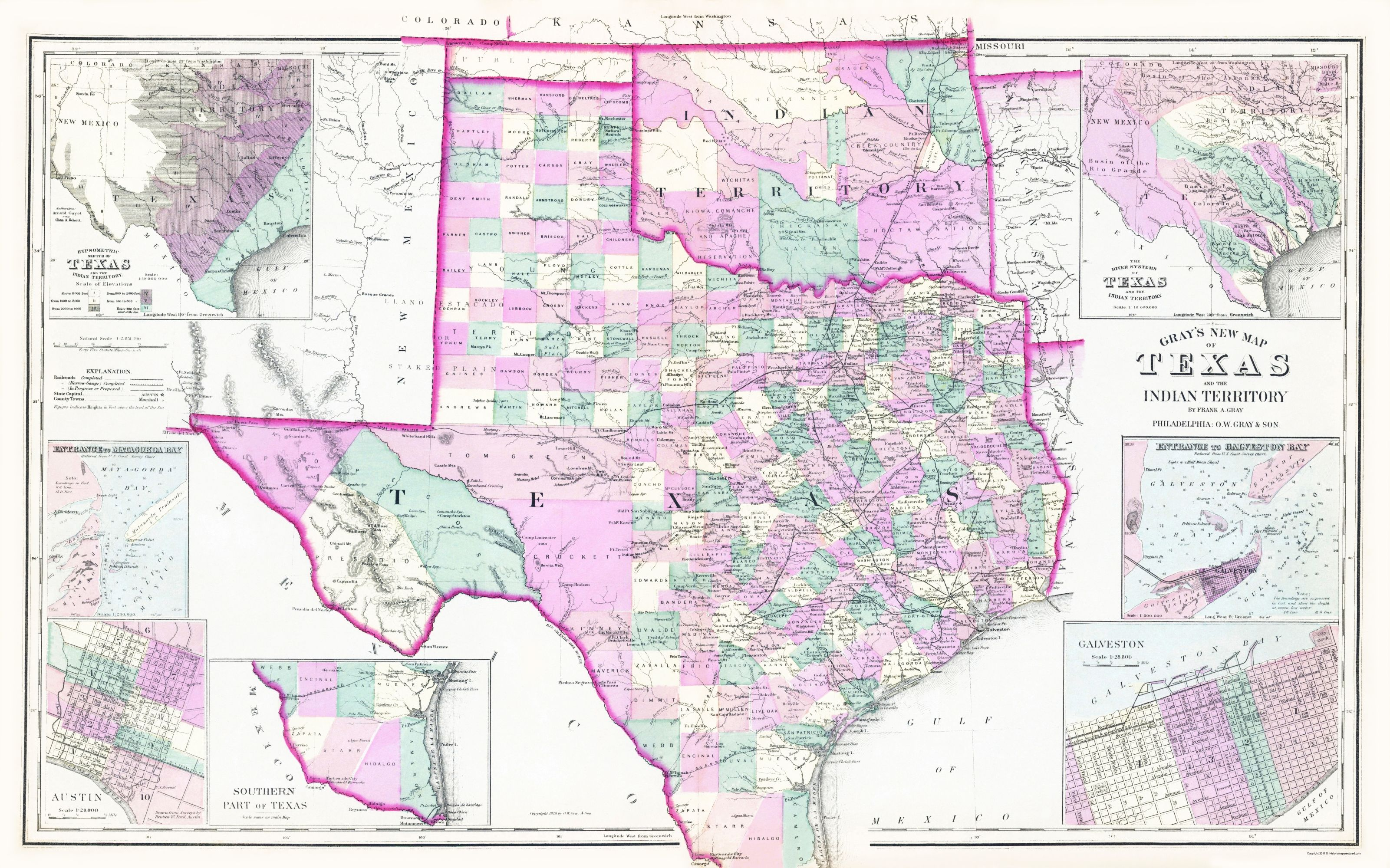 Old State Map Texas And Oklahoma Indian Territory Gray 1876 23