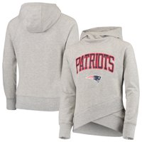 New England Patriots Youth Glam Girl Funnel Neck Pullover Hoodie - Heathered Gray
