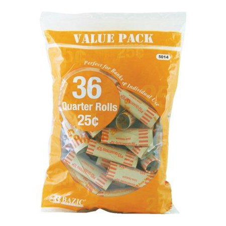 Three Quarter Roll (Bazic Quarter Coin Wrappers, 36 Per Pack - 3 Packs (Total 108) )