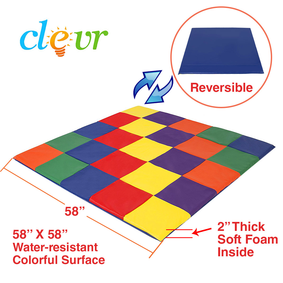 Clevr Kids Soft Cushioned Patchwork Play Mat, Toddler Activity Play , Multicolor by Clevr