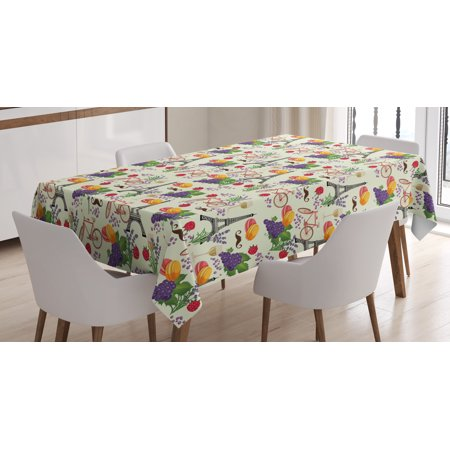 European Tablecloth, French Themed Paris Must Have Macarons Wines Grapes Bikes Berries Eiffel Art Print, Rectangular Table Cover for Dining Room Kitchen, 52 X 70 Inches, Multicolor, by