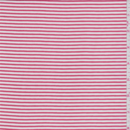 White/Cherry Red Stripe Chiffon, Fabric By the Yard