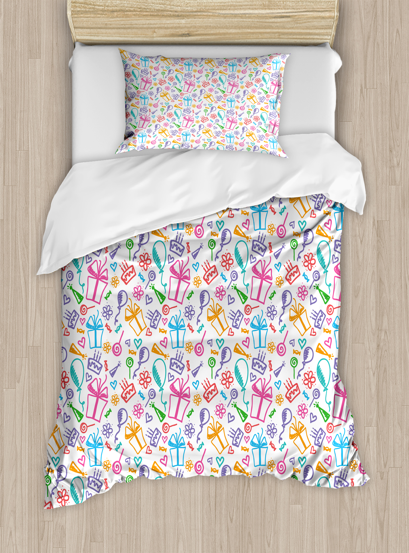 Birthday Decorations Twin Size Duvet Cover Set, Colorful Sketch of Balloons Flowers... by Kozmos