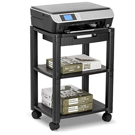 Halter LZ-308 Rolling Printer Cart Machine Stand with Cable Management - Holds Up To 75 Pounds (2 Drawer Office Printer Stand)